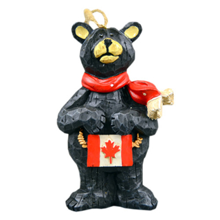 Picture of Standing Black Bear with Canada Flag Ornament