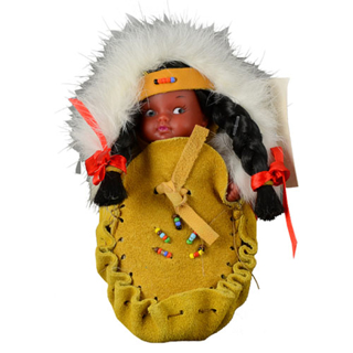 Picture of Native Indian Doll in a Suede Moccasin - Yellow