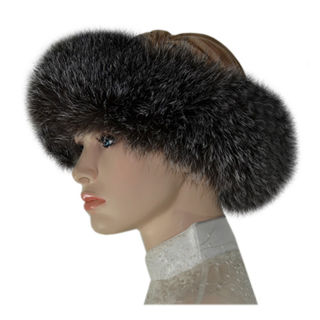 Leather Fox Fur Headband Grey Canada Souvenirs Gifts