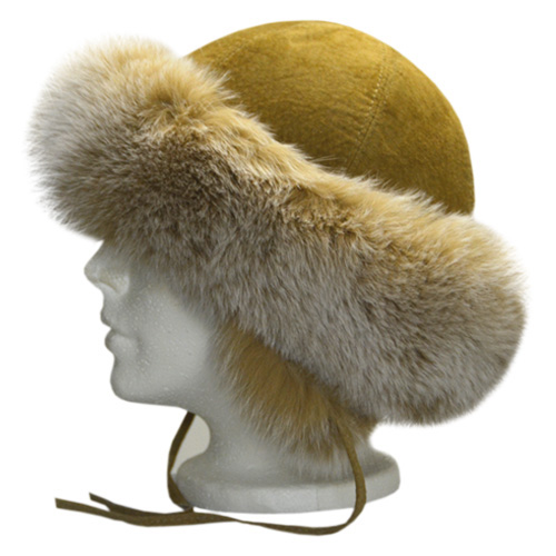 Leather Fox Fur Hat Beige Canada Souvenirs Gifts