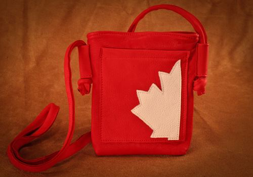 Hides In Hand Deerskin Canadiana Red Purse Canada