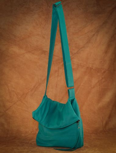 Hides In Hand Deerskin Fold Over Purse Turquoise