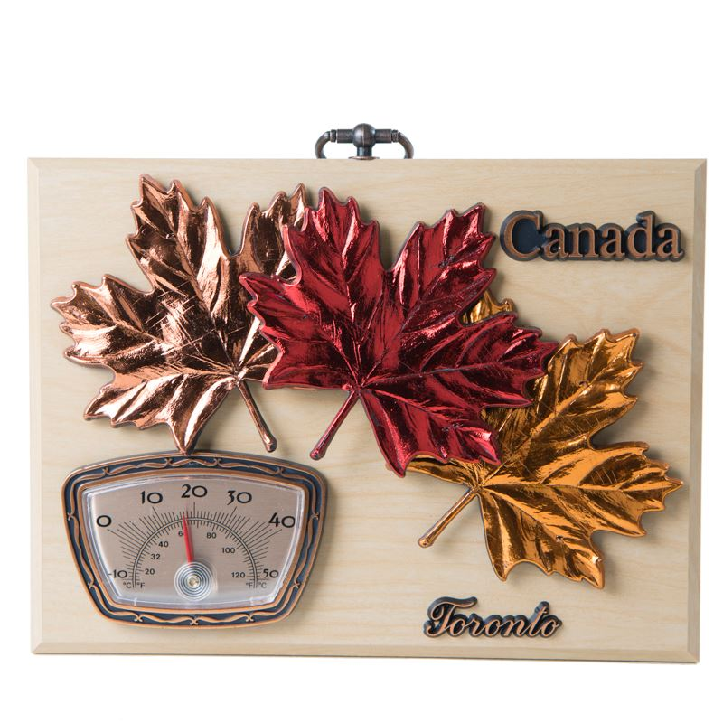 Maple Leaves With Thermometer Wall Plaque Maple Finish