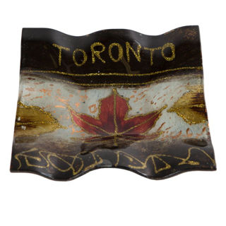 Canadian Souvenirs Gifts Toronto Maple Leaf Glass Plate 8