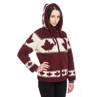 Picture of Maple Leaf Wool Hooded Jacket - Burgundy