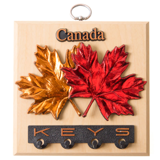 Picture of Wall Plaque Maple Leaves with Key Holder on Maple 6 x 6 inches