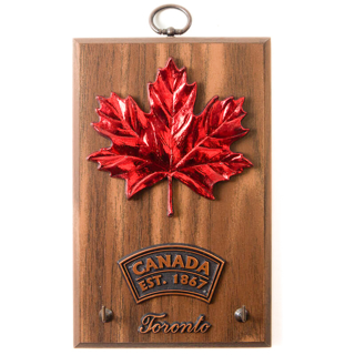 Picture of Wall Plaque Maple Leaves Key Holder on Hickory 6 x 4 inches
