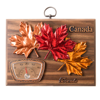 Picture of Wall Plaque Maple Leaves with Thermometer on Hickory 8 x 6 inches