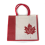 Picture of Canada Leaf White - Jute Bag