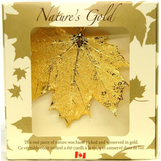 Picture of Nature's Gold maple leaf ornament - Gold