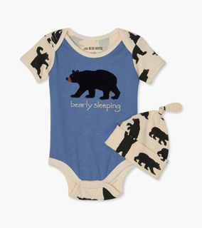 Picture of Bearly Sleeping Baby Bodysuit with Hat - Blue