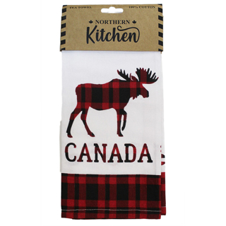 Picture of Moose with Buffalo Check tea towel
