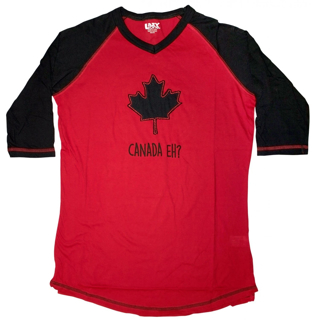 Picture of Canada Eh? Black & Red Women's Tall Tee