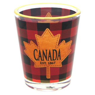Picture of Shot Glass - Buffalo Check with Maple Leaf - short