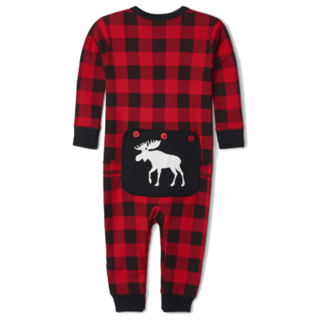 Picture of Moose On Plaid Baby Union Suit
