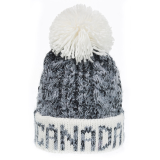 Picture of Heather Grey & White Canada Cable Knit Pom Toque