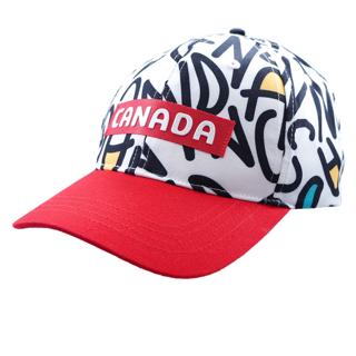Picture of Canada Cap WHITE/BLACK All-Over Script W/Red Brim